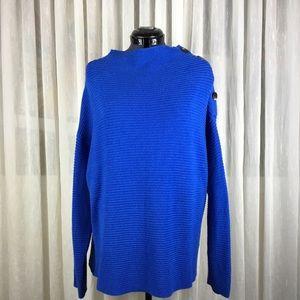 Button Shoulder Knit Sweater Periwinkle Blue